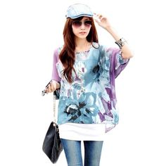 Women Batwing Dolman Sleeve Chiffon Shirt Bohemian Tops Oversized Blouse S0BZ