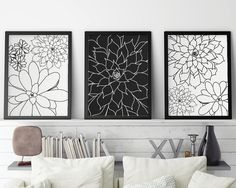 Set of 3 Prints Black and White Art Art Set by UrbanEpiphanyPrints