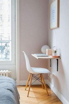 House Organization Ideas 61 SIMPLY AMAZING Small Space HACKS for your TINY BEDROOM need space where you can work in a small bedroom? Try a microdesk! Find more small space solutions in this post! Bedroom Desk, Desk In Small Bedroom, Space Saving Bedroom, Small Desk Space, Small Workspace, Bedroom Storage, Desks For Small Spaces, Small Bedroom Decor On A Budget, Bedroom Wardrobe