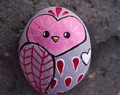 Owl painted rock in Light Grey, Reds, and White- Valentine's