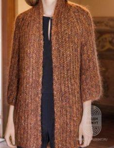 Жакет двух цветов: схема вязания, подробная инструкция, описание на сайте «Люди вяжут» Kimono Pattern, Cardigan Pattern, Knitting Stitches, Baby Knitting, Long Knit Cardigan, Drops Design, Knit Fashion, Knit Crochet, Crochet Patterns