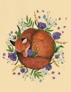 Floral Fox Art Print by Hannah Spiegleman | Society6