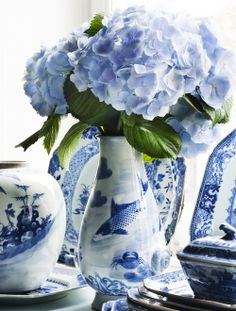 Blue hydrangea with blue and white china Hortensia Hydrangea, Blue Hydrangea, Hydrangea Bouquet, White Hydrangeas, Blue And White Vase, White Vases, Deco Floral, Arte Floral, Photo Bleu