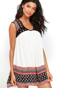 The sweetest silhouette and a charming print make the Darling Dear Black and Orange Print Babydoll Dress one for the books! Black, orange, and cream print covers the decolletage of the short sleeve bodice, with lattice detail and crochet fringe. Gauzy cream skirt ends with more print at the hem. #CuteDresses #TrendyTops, #FashionShoes #JuniorsClothing