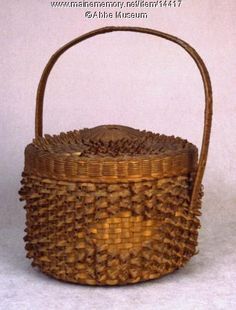 "Cake Basket, probably Micmac, ca. 1870. This cake basket is decorated with a decorative weave known as ""porcupine curls."" Item # 14417 on Maine Memory Network"