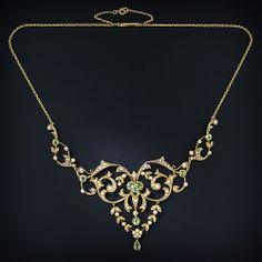 Antique Peridot Necklace - 90-1-4291 - Lang Antiques