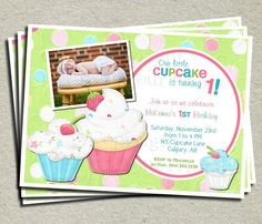 1st Birthday Invitation - Little Cupcake - FREE Thank You Card included. $15.00, via Etsy.