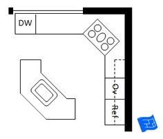 Open plan L shaped kitchen layout with angled island.