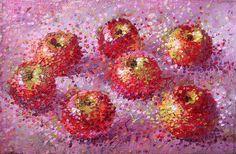 Купить или заказать Красные яблочки в интернет-магазине на Ярмарке Мастеров. Спелые хрустящие красные яблочки со склонов плодородных узбекских гор. Картина оформлена в лёгкую китайскую раму, которая, при желании, легко снимается.