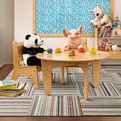 Bring the fun to your kid's room with Like Minded carpet squares.