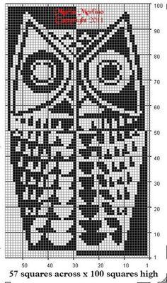 Would be a fun cross stitch pattern. Modern Owl Curtain Wall Panel Chart in Filet Crochet Stitch Free Pattern MoEZ Filet Crochet, Crochet Stitches Free, Crochet Motifs, Knitting Charts, Crochet Chart, Crochet Patterns, Embroidery Patterns, Knitting Patterns, Beaded Crochet