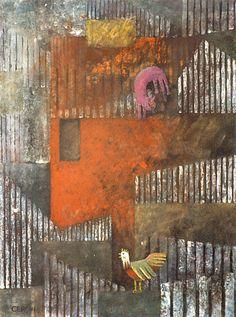 "Galleria scorrevole.                                          Sergio Cerchi, italian painter (Firenze), ""Red House"", gouache."