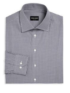 GIORGIO ARMANI Gingham Checked Regular-Fit Dress Shirt. #giorgioarmani #cloth #shirt