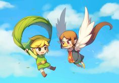 Toon Link and Medli. I always thought that Medli's name was actually Meldy so I always called her that. Now I'm ashamed of myself for not reading anything in Wind Waker when people talk to me