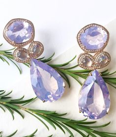In a summer state of mind with this pair of amethyst + moonstone one-of-a-kind earrings! #danarebecca #earrings #gemstone #amethyst #moonstone #oneofakind