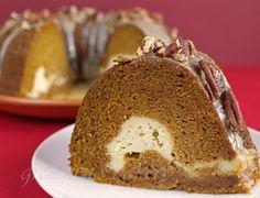 Pumpkin Cream Cheese Maple Glazed Bundt Cake