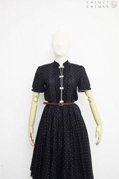 367b79c64 Vintage 70s Dress | Japanese Vintage Dress | Cotton Shirtwaist Dress | Dark  Navy + White Polka Dots Print | Full Skirt | Summer Day Dress