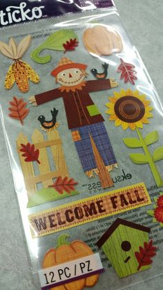 Sticko Harvest Stickers Welcome Fall Scarecrow by MemoriesOnMain