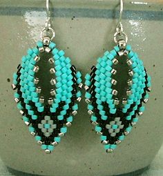 "RUSSIAN LEAF EARRINGS   8/0 seed beads Toho ""Nickel Plated"" (711)  11/0 Delica beads ""Nickel Plated"" (DB21)  11/0 Delica beads ""Opaque Bl..."