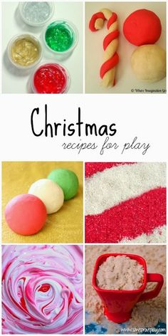 20 recipes for play with a Christmas theme including doughs, paints, and other sensory materials!