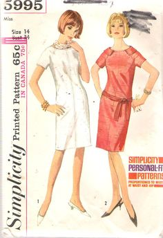 Vintage 1965 Simplicity 5995 One-Piece Shift by Recycledelic1
