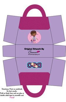 Box, Doc McStuffins, Favor Box - Free Printable Ideas from Family Shoppingbag.com | Doc McStuffins Craft | Doc McStuffins DIY |