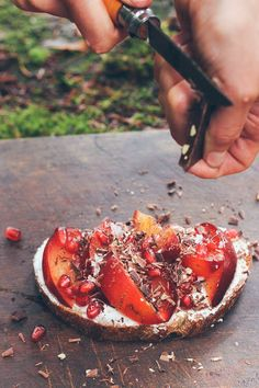 Me and you and the weekend.Toast with plum, goat cheese, pomegranate and chocolate shavings!