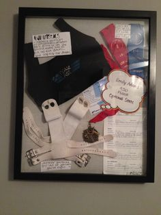 Gymnastics shadow box  First team Leo, medals, ribbion, grips