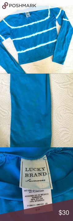 Lucky brand blue cropped Rash guard Small - some markings on the sleeve as seen in photo. Sun protection Lucky Brand Swim