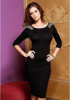 Платье - http://www.quelle.ru/New_arrivals/Women_fashion/Women_dresses/Knitted_dress/Plate__r1216229_m289500.html?anid=pinterest&utm_source=pinterest_board&utm_medium=smm_jami&utm_campaign=board1&utm_term=pin8_14032014  Простой фасон платья оправдан изысканной отделкой плечиков с помощью бусин и пайеток. #quelle #dress #romantic #beads #style #spring