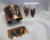 Francisco Rebajes  Designer Vintage Copper  Brooch Bracelet and Earrings The Masks