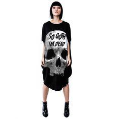 So Goth oversized tunic dress black - On
