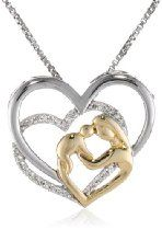 XPY Sterling Silver 925 and 14k Yellow Gold Mother's Jewel Diamond Triple Heart Pendant Necklace, 18