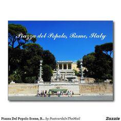 Piazza Del Popolo Scene, Rome, Italy Postcard