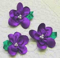 Purple Satin Flowers with Leaves  10 Large Purple by IDoDoodads, $5.90