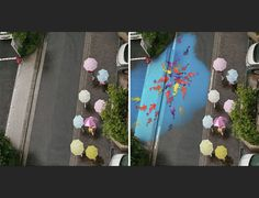 Project Monsoonmakes rainy days in Seoul a little bit more colourful by bringing art to the sidewalks when they get wet. The project is a creative collabo