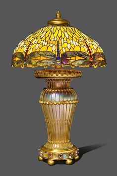 TIFFANY STUDIOS NEW YORK Table Lamp. Dropped Dragonfly Design
