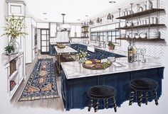 Beautiful kitchen interior rendering, Lori Gilder of Kitchen Design Network Interior Architecture Drawing, Interior Design Renderings, Drawing Interior, Interior Rendering, Interior Sketch, Layout Design, Küchen Design, Beautiful Kitchen Designs, Beautiful Kitchens