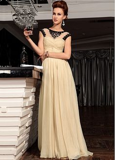 In Stock Glamorous Bateau Neckline Raised Waist Cap Sleeve Floor Length Party Dress with Beadings