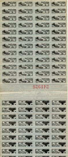 Stamps from a World War II-era ration booklet issued to Vincent J. Graziano of North Hollywood, circa early 1940s. The stamps were traded for such scarce commodities as sugar, butter, coffee and beef steak. San Fernando Valley History Digital Library.