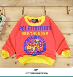 Letters Printed Long Sleeve T-shirts Red