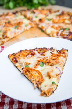 Cauliflower Pizza Crust (BBQ Chicken Pizza)crust is cauliflower chopped up and microwaved.  guiltfree chowdown.