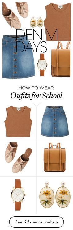 """Untitled #79"" by cleeco on Polyvore featuring LE3NO, Samuji, Taschka and denimskirts"