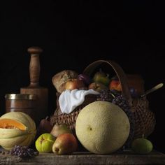 Paulette Tavormina Still Life with Melons and Basket after L M from the series Bodeg n 2014