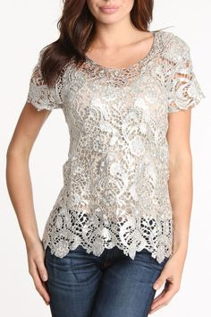 Hugging kisses Foil Printed Venetian Lace Tunic in Silver - Beyond the Rack Modest Fashion, Women's Fashion Dresses, Lace Tops, Lace Blouses, Blouse And Skirt, Elegant Outfit, Street Style Women, Stylish Outfits, Fashion Design