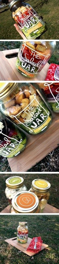 The Salad Jar. #packaging in action. Such a clever way to pack a tasty lunch or even make salads for an entire week. PD by georgette