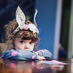 Sweet Lucca wearing mason & harlow Woodland Bunny Crown. Photo by @yo.saba.saba. Buy on masonandharlow.etsy.com