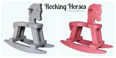 Chalk painted distressed spotted rocking horses for toddlers