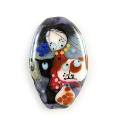 Lampwork bead, lampwork Glass bead, handmade glass bead, purple multicolor lampwork bead, cat bead, dog bead, tothem bead, fairy bead by GlassAfternoon on Etsy
