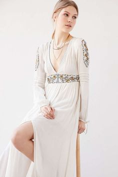 Ecote Sweet Surrender Embroidered Long-Sleeve Maxi Dress - UrbanOutfitters